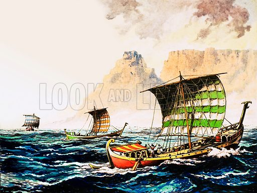 Phoenician explorers sent by an Egyptian Pharaoh to sail around the coast of Africa, 600BC. Original artwork from The Fifth Look and Learn Book of 1001 Questions and Answers.