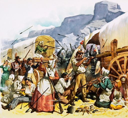 Dutch setters fighting Kafirs. Original artwork.