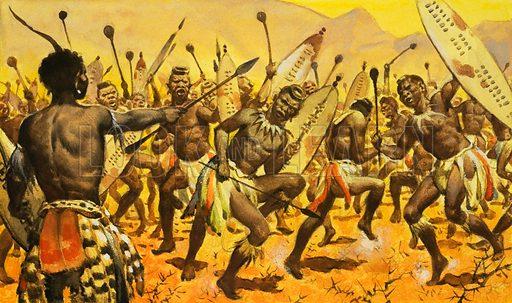 King Shaka ordering his Zulu warriors to dance on thorny ground, 19th Century