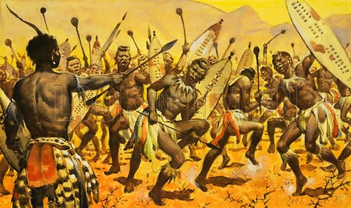 King Shaka ordering his Zulu warriors to dance on thorny ground, 19th Century. Original artwork.