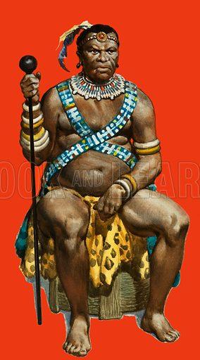 Chief Dingaan of the Zulus. Original artwork.
