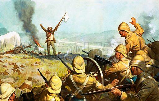 Boer surrendering. Original artwork.