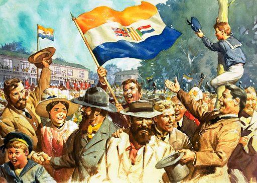 Birth of the Union of South Africa. Original artwork.