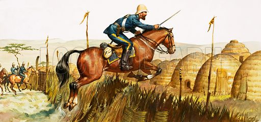 Irish soldier Captain William Beresford attacking a Zulu village during the Anglo-Zulu War, 1879. Original artwork.