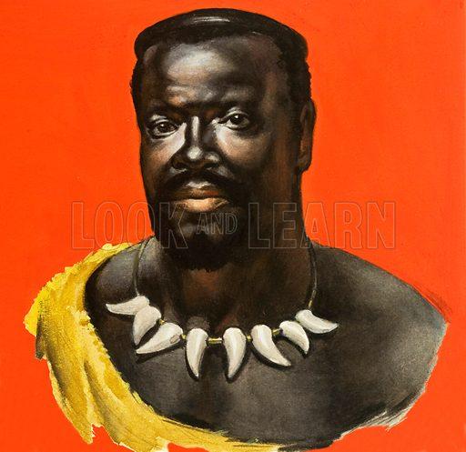 Chief Cetewayo of the Zulus. Original artwork.