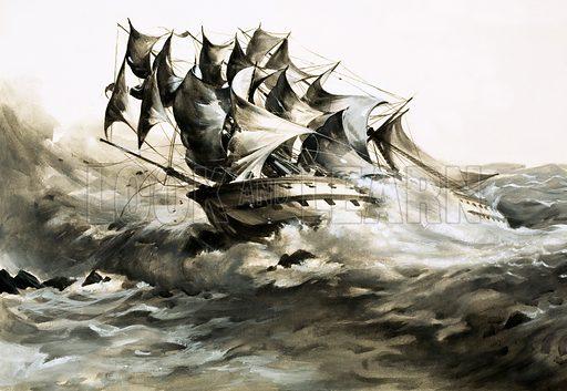 Grosvenor runs aground, picture, image, illustration