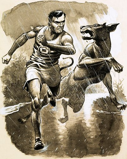Bobby Moore's World of Sport. Jack Holden won the Marathon in the 1950 Empire Games in New Zealand despite being bitten by a Great Dane during the race. Original artwork from Ranger (13 November 1965).