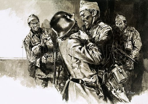 True Adventure: Attack in the Night. Lieutenant-Colonel Geoffrey Keyes grapples with a German guard during a mission to capture General Rommel. Original artwork from Look and Learn no. 229 (4 June 1966).