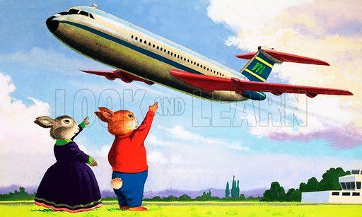 Tufty waving at aircraft. Original artwork for Treasure 28/3/81.