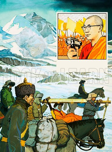 Other People's Countries: Tibet Today. Escape Into Exile. The Dailai Lama's flight from Tibet in 1959 with (inset) portrait as he returns to Tibet from India in 1956. Original artwork from Look and Learn no. 994 (28 March 1981).