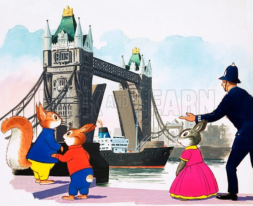 Tufty and London Bridge. Original artwork for Tresaure 10/2/68.