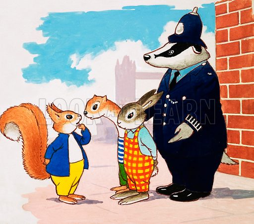 Tufty and policeman. Original artwork for Treasure issue 10 February 1968.