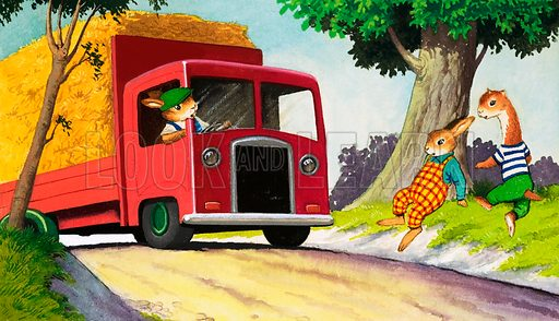 Tufty driving hay van. Original artwork for Treasure Annual 1972.