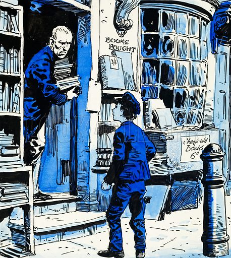 Orphan boy arriving to work at bookshop. Original artwork for Treasure Annual 1972.