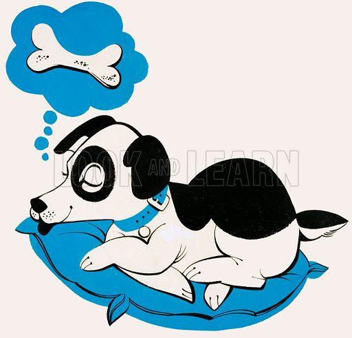 Dog dreaming of a bone. Original artwork for Treasure Annual 1972.