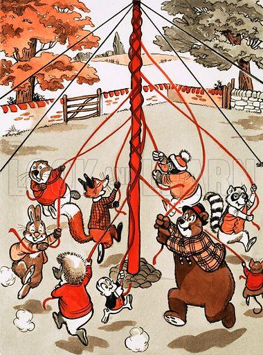 Animals around May pole. Original artwork from Tresaure Annual 1972.