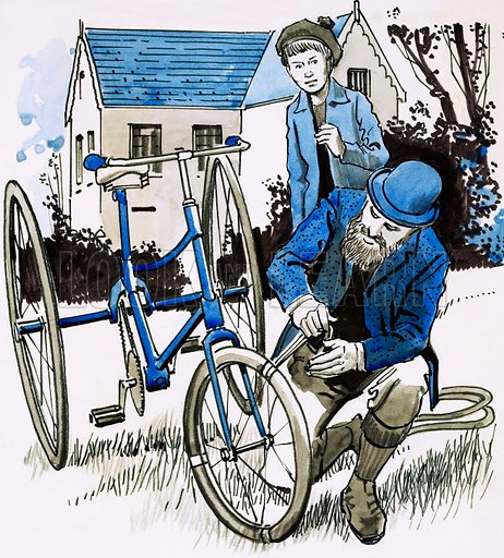 Good Ideas. A garden hose provided John Dunlop with a smooth bicycle ride. riginal artwork from Look and Learn Book 1981.