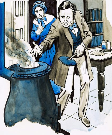 Good Ideas. Charles Goodyear discovers a process for hardening rubber by accident. riginal artwork from Look and Learn Book 1981.