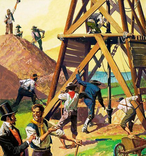 Unidentified oil drilling rig. Original artwork.