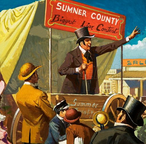 Unidentified announcer in a booth advertising Sumner County Biggest Liar Contest. Original artwork.