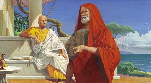 Roman general Scipio Africanus meeting his Carthaginian rival Hannibal many years after they fought each other at the Battle of Zama in the Second Punic War. Original artwork from Look and Learn no. 927 (27 October 1979). Originally published flipped left to right.