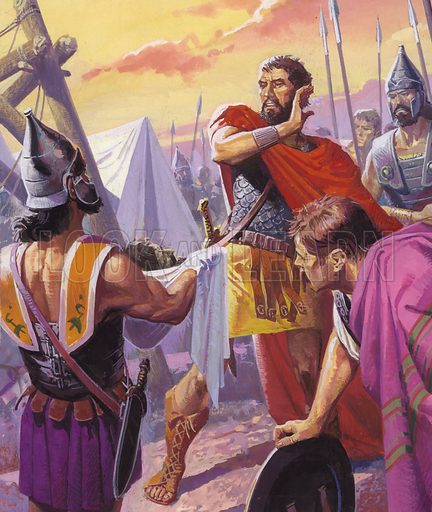 Clash of Giants: Always Winning But Never the Victor. Hannibal was losing ground in Spain when his brother Hasdrubal led reinforcements through the Alps. Hasdrubal was defeated and slain before he could link up with his brother's army and Hannibal's first sight of his dead brother was when his severed head was thrown by the Romans into Hannibal's camp. Original artwork from Look and Learn no. 926 (20 October 1979).