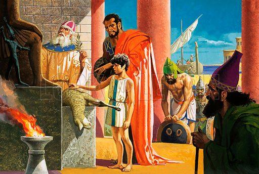 Unidentified Biblical scene of lamb being sacrificed. Original artwork.