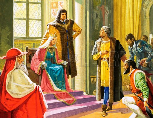 Unidentified scene with man kneeling before the Queen and her courtiers. Original artwork.