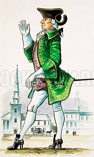 Gentleman of about 1750 armed with small sword.