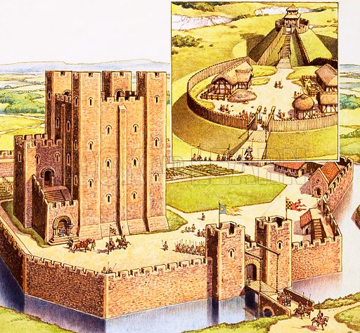 Aerial view of unidentified castle with inset view of a fortified building. Original artwork.
