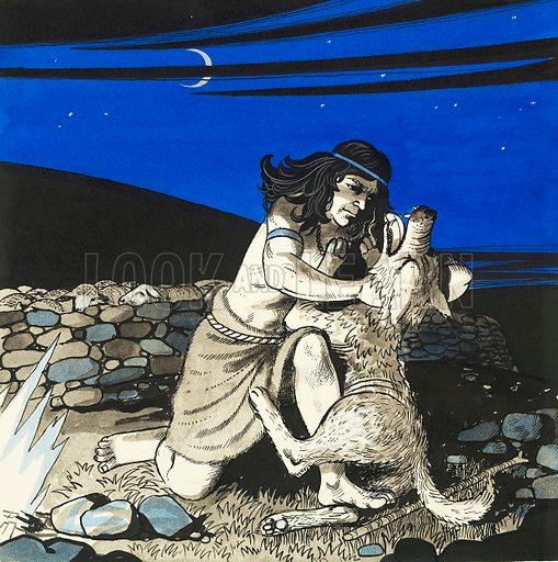 David killing a wolf. Original artwork for Treasure Annual 1972.