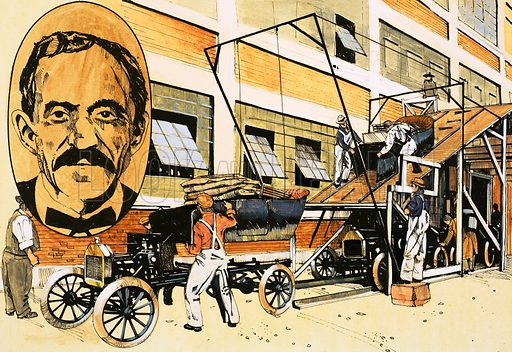 Henry Ford and his first production line of 1908. Original artwork for Speed and Power No 10.