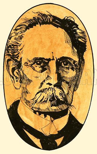 Karl Benz, the famous engineer. Original artwork for Speed and Power no. 10.