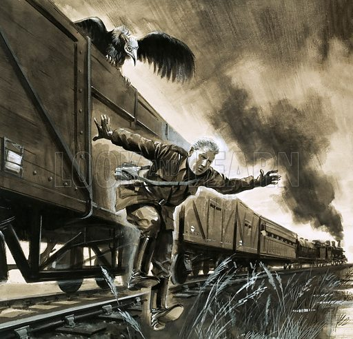True Adventure: Escape from the Boers. Young Winston Churchill makes his escape by train, in the company of a vulture. Original artwork from Look and Learn no. 148 (14 November 1964).