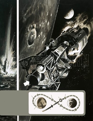 The Apollo 13 Mission: 205,000 Milels Out from Earth… Explosion! Original artwork from Look and Learn no. 450 (29 August 1970).