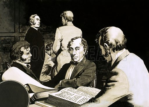 Birth of the Whigs and Tories. Prime Minister Benjamin Disraeli confers with his Conservative colleagues in the middle of the last century on re-styling the Conservative Party Organisation. Original artwork from Look and Learn no. 133 (1 August 1964).