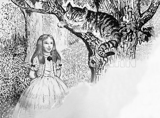 All the Queen's Counties: The County With Character. Alice in Wonderland meets the Cheshire Cat. Original artwork from Look and Learn no. 714 (20 September 1975).