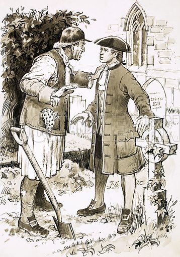 At the Seven Stars: The Eclipse of Saturn. Richard Larkin meets a grave-digger. Illustration based on the novel by John & Patricia Beatty. Original artwork from Look and Learn no. 272 (1 April 1967).