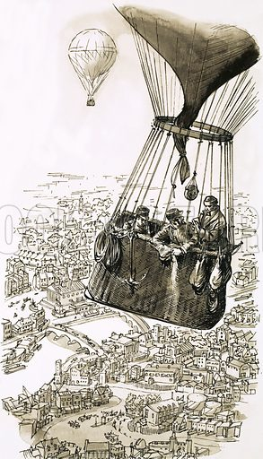 The Story of the Post: The Royal Mail Becomes Airborne. The world's first regular airmail service was established in 1870 when manned balloons were used to carry sacks of letters from the besieged city of Paris to the outside world. Original artwork from Look and Learn no. 594 (2 June 1973).