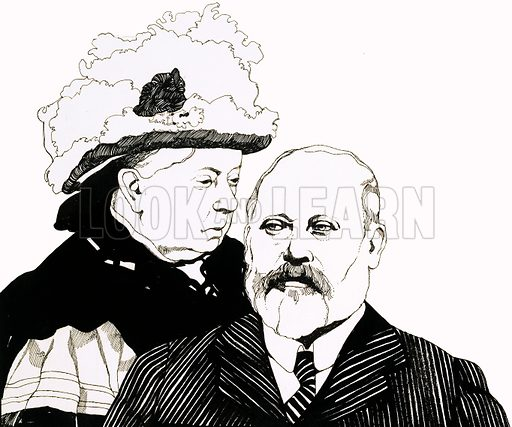 """The Edwardians: """"Good Old Uncle Bertie"""". Queen Victoria and the Prince of Wales, soon to become King Edward VII. Original artwork from Look and Learn no. 585 (31 March 1973)."""