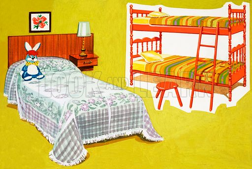 Child's bed and bunk.  Original artwork for World of Knowledge Annual  1983.