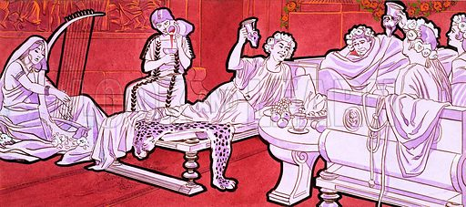 Romans dining. Original artwork for World of Knowledge Annual 1983.