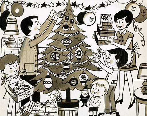 Christmas Tree.  Original artwork for Treasure 27/12/69.