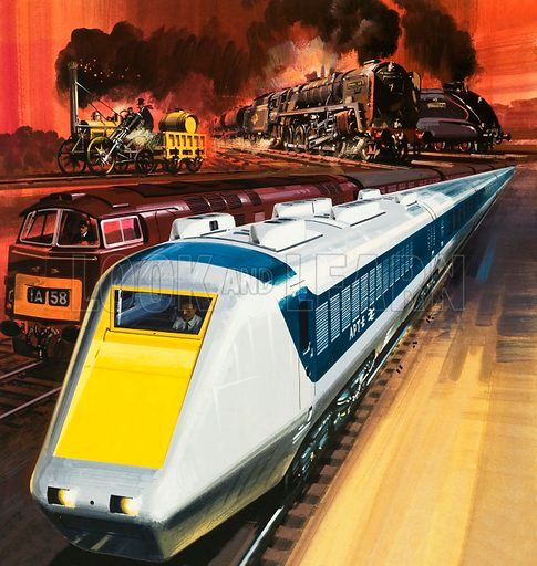 Unidentified train montage, including Stephenson's Rocket, steam trains, electric train and high speed train. Original artwork.