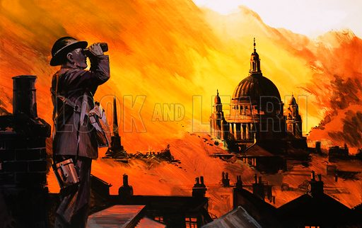 Unidentified fiery blitz scene with ARP Warden in foreground and St Paul's in background. Original artwork.