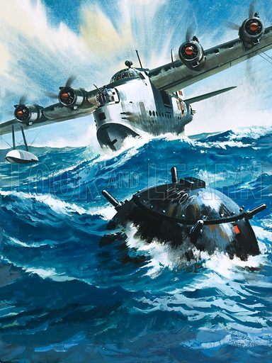 Famous Aircraft and Their Pilots: The Short Sunderland – Flying Officer GO Singleton found it impossible to take off and, as he gunned the engine, saw a drifting mine. Original artwork from Look and Learn no. 204 (11 December 1965).
