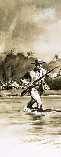 Unidentified man escaping across river. Original artwork.