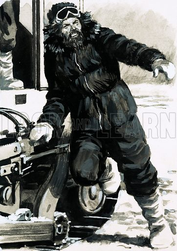 The Frozen Paradise. Bob Thomson jumped out onto the ice of Antarctica when the tractor stopped, anxious to be the first member of the expedition to set foot on the coldest place on Earth. Original artwork from Look and Learn Book 1976.