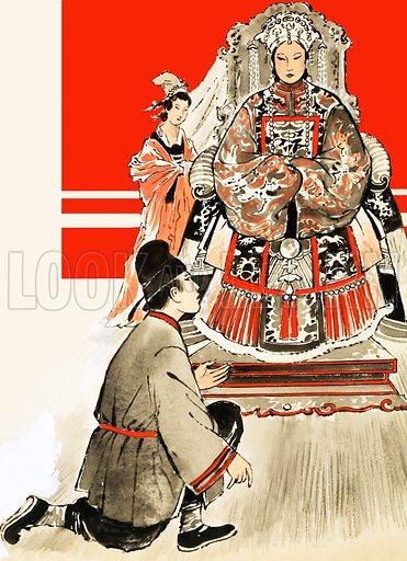 Unidentified Japanese man before female royal. Original artwork (labelled Annual 1971).