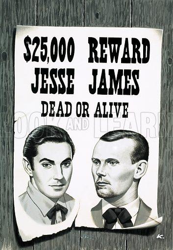 Wanted poster for Jesse James. Original artwork.